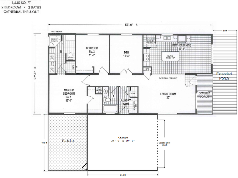 toliver 1430 floorplan1 - $304,900 - Toliver Estates 1430 Boardwalk Ave
